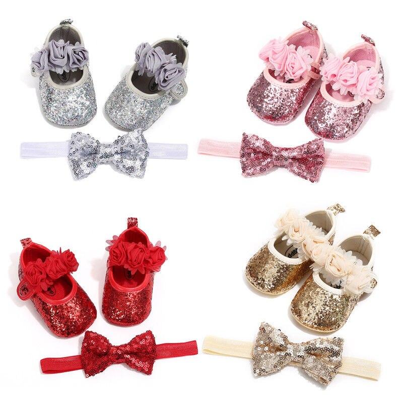 Bebê recém-nascido Menina 2pcs Glitter Lantejoulas Prewalker Crib Shoes Partido Sapatos de Festa Da Princesa + Headband Crianças Casuais