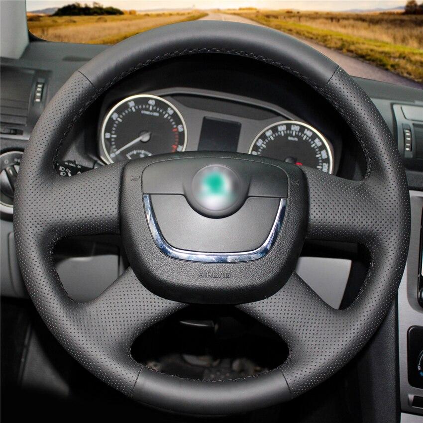 Car Steering Wheel Cover Hand-stitch on Wrap Cover Car interior decoration For Skoda Octavia Superb 2012 Fabia