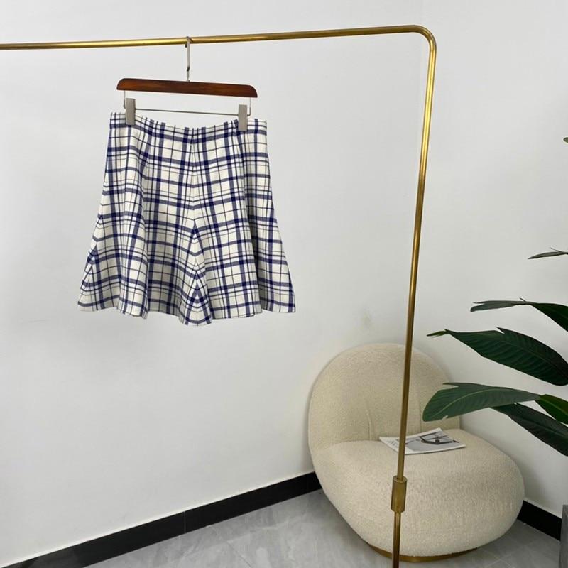 Summer Women Fashion A-line Blue Plaid Mini Skirts High Quality Wool