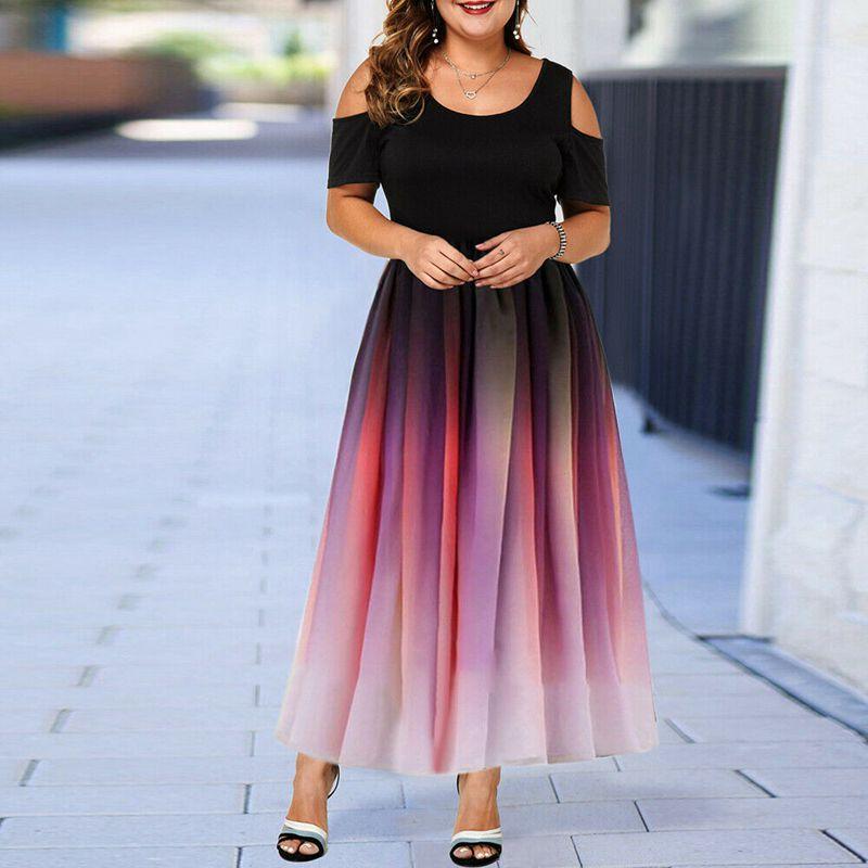 New plus size dress 4XL5XL6XL7XL 8XL bust 135CM fashion women's round neck short sleeve gradient color off shoulder sexy dress