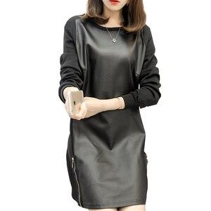 High Quality Autumn Winter Style Woman Fashion PU Leather Dress Slim Round Collar Long Sleeve Women Casual Mini Dress Vestidos