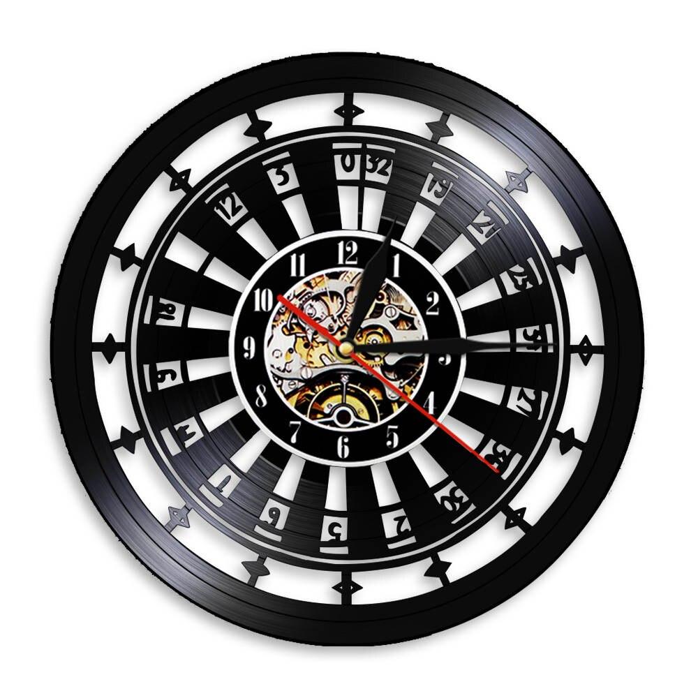 Casino Gambling Roulette LED Wall Clock Las Vegas Wall Decor 777 Poker Game Vinyl Record Wall Clock Playing Card Clock Watch