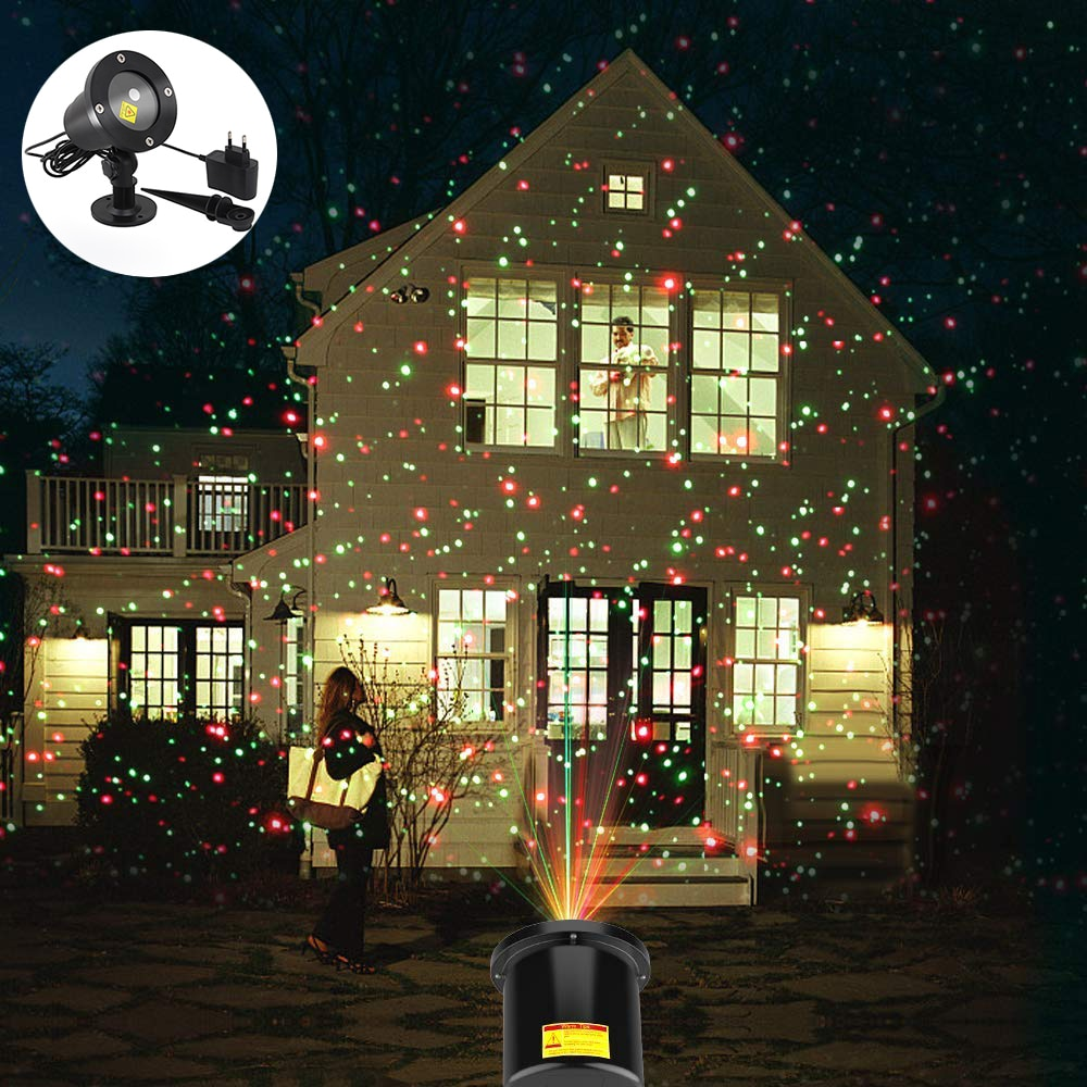 AC100-240V Christmas Sky Star laser light shower Red&Green Stage Effect Light Waterproof Outdoor Garden Party Xmas decorative