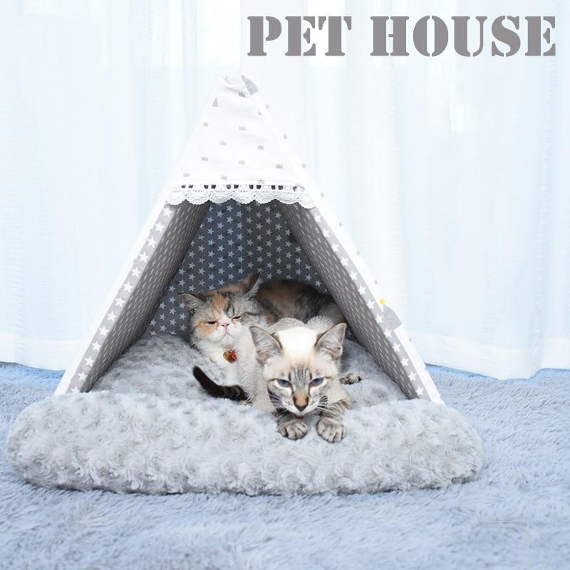 Casa para mascotas verde, tienda plegable para gatos, casa para perros, cama para cachorros, estera para dormir, caja portátil para tienda para perros, perrera para mascotas