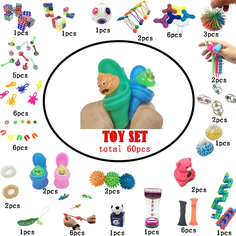Squeeze Toys Set Combination 60 Pieces Extrusive-Solving Fidget Kids Hot Selling Various Styles Wholesale