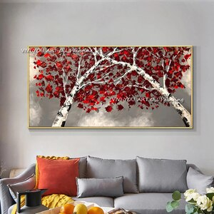 The Trend Handmade Large Red Tree Flower Abstract Oil Painting On Canvas Knife Painting Plant Nature Wall Art Decor for Office