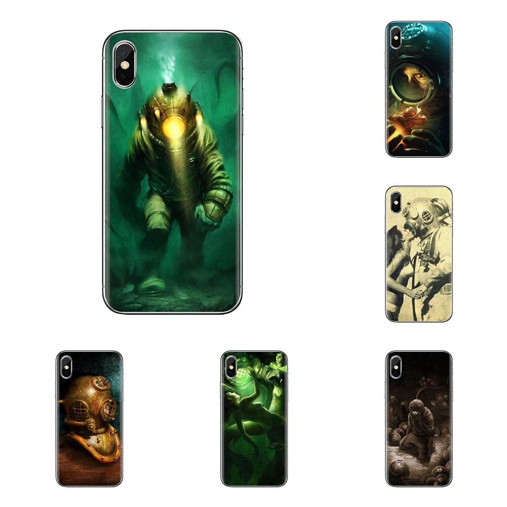 For Xiaomi Mi3 Samsung A10 A30 A40 A50 A60 A70 Galaxy S2 Note 2 Grand Core Prime Deep Sea Diver Banksy Transparent Soft Bag Case