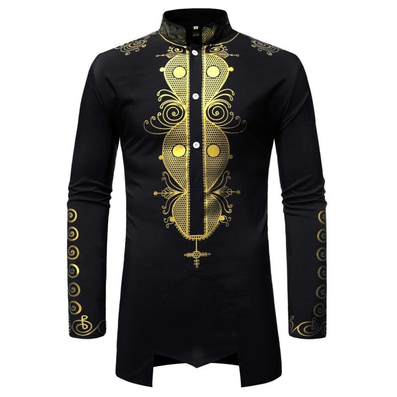 Black Mandarin Collar Button Up Shirt Men 2021 Brand Streetwear Casual African Clothes Men Slim Long Sleeve Shirts Camisa Hombre