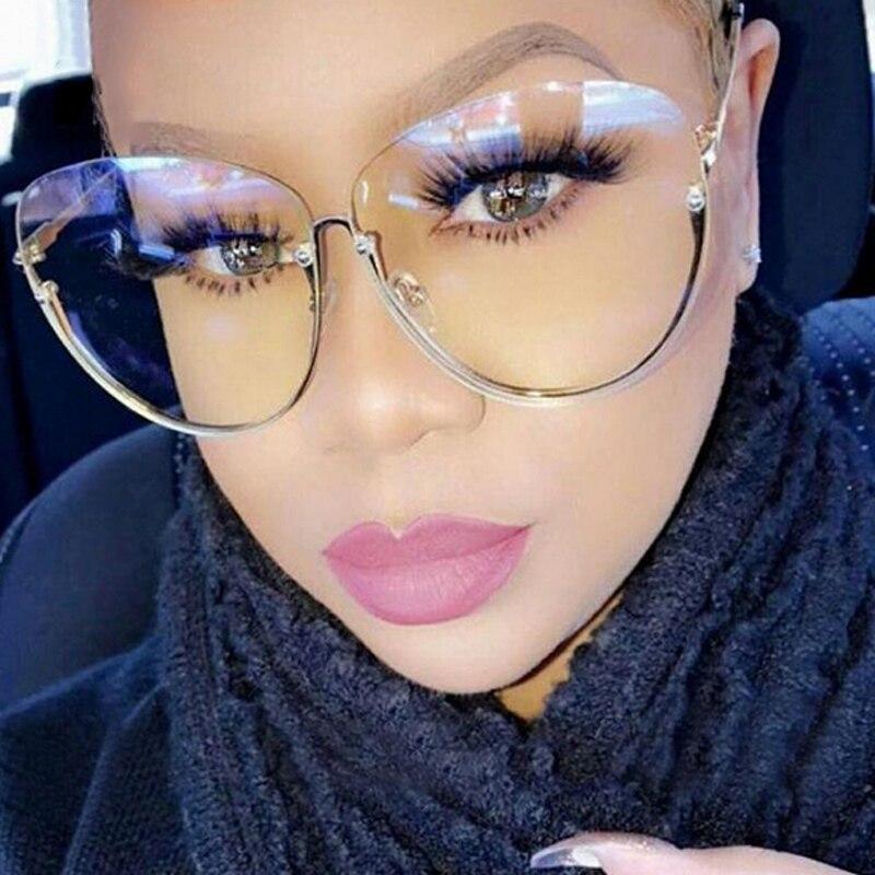 Brand Designer Clear Sunglasses Women Semi Rimless 2021 Oversized Oval Sun Glasses Frame Vintage Sha