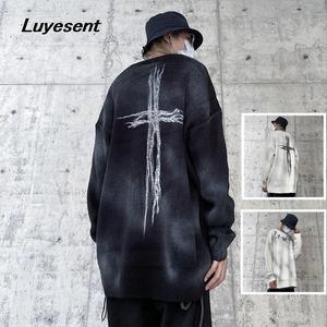 Black White Gothic Lady Harajuku Unisex Pullover Sweater Autumn Girl Cross O Neck Cool Street Knit Sweaters Dark Goth Man Jumper