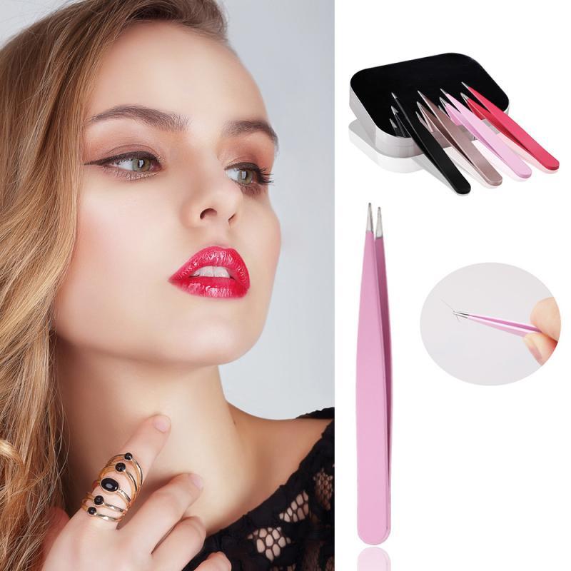Pinzas para cejas Belleza del cabello Acero inoxidable inclinado, Clip para maquillaje recubierto, accesorios cosméticos para la eliminación del vello del maquillaje TXTB1