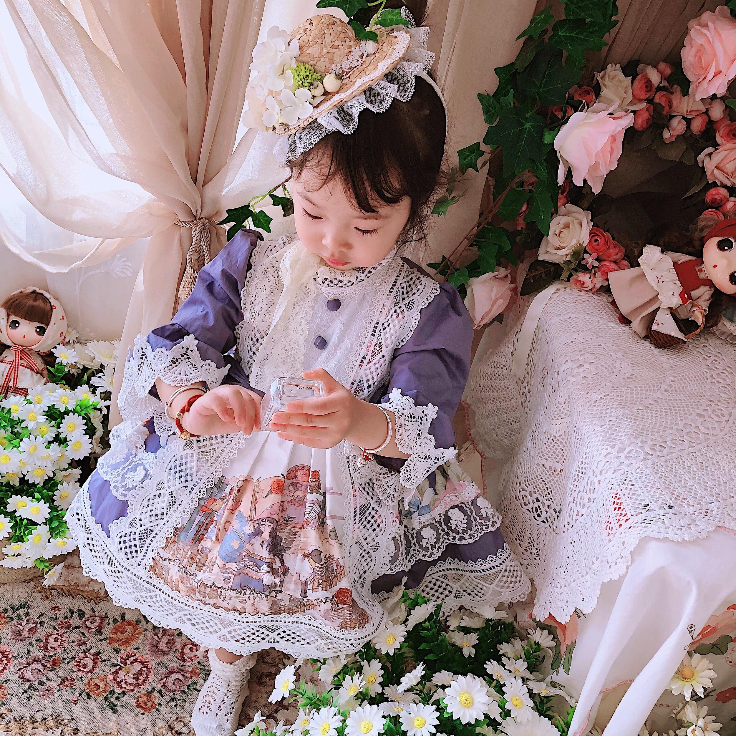 0-6Y Baby Mädchen Lila Alice Stickerei Vintage Spanisch Türkei England Lolita Prinzessin Ballkleid Kleid für Mädchen Casual Partei