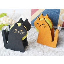 2020 Hot Sale Wooden Cute Tape Dispenser Cutter Kawaii Cat Office Accessory Mini Washi Cutting Holder