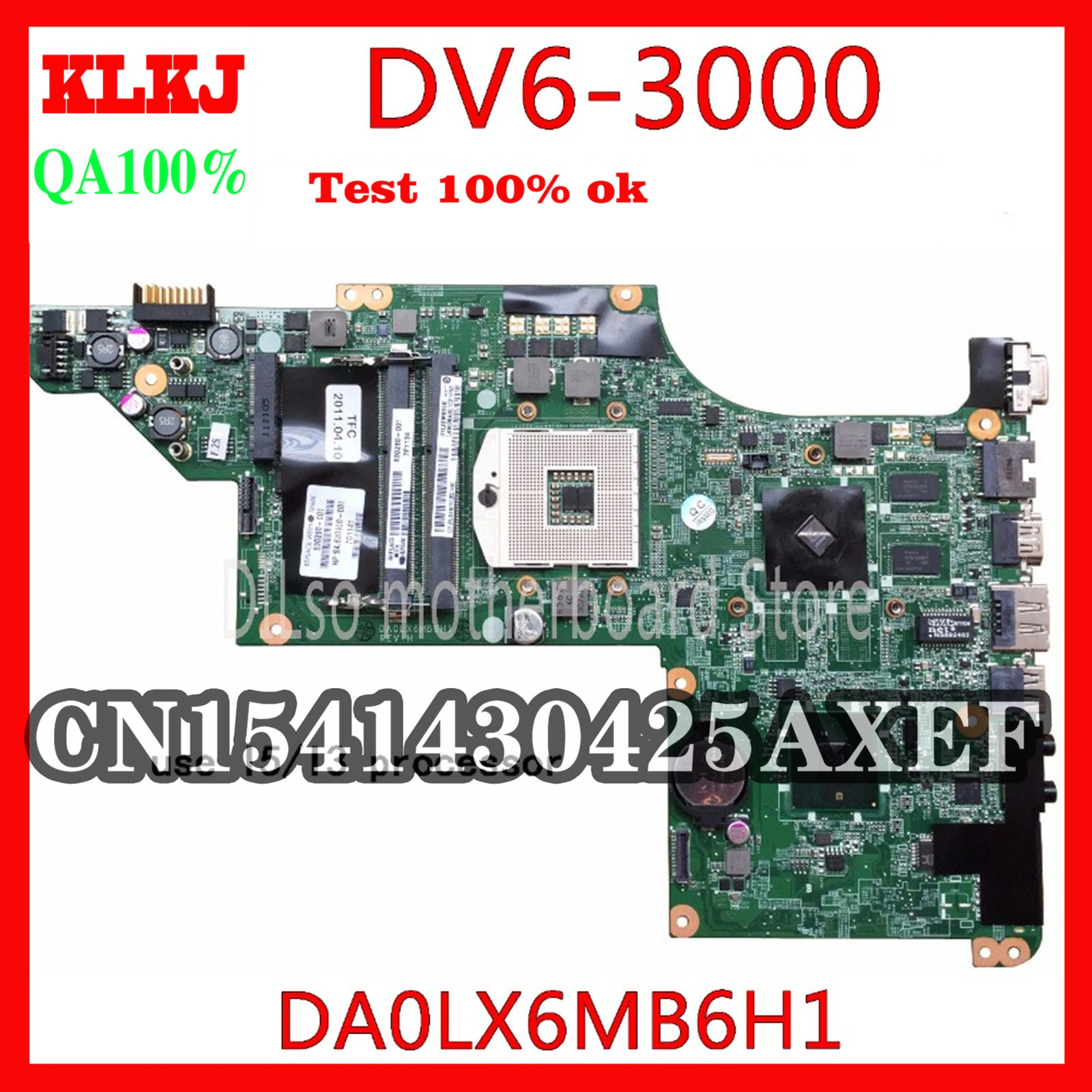 KLKJ 615280-001 ل HP DV6 DV6-3000 اللوحة المحمول DA0LX6MB6G1 DA0LX6MB6H1 اختبار الأصلي 100% العمل