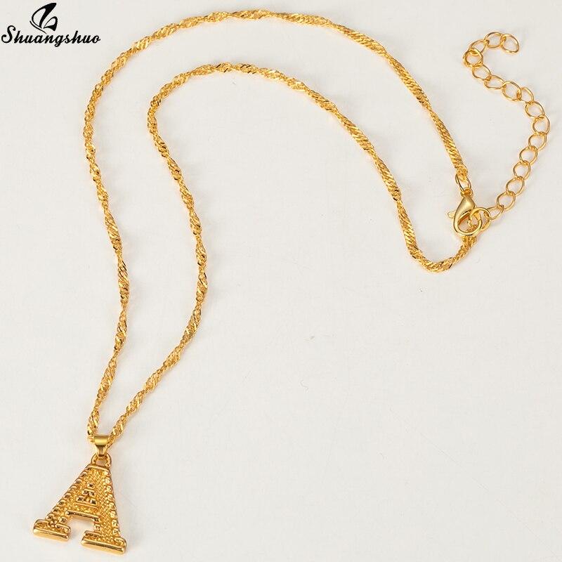 Collar Mini Punk dorado con 26 letras para mujeres y hombres, regalo gótico, cadenas de acero inoxidable, A-Z, collar con dije inicial, collar al por mayor
