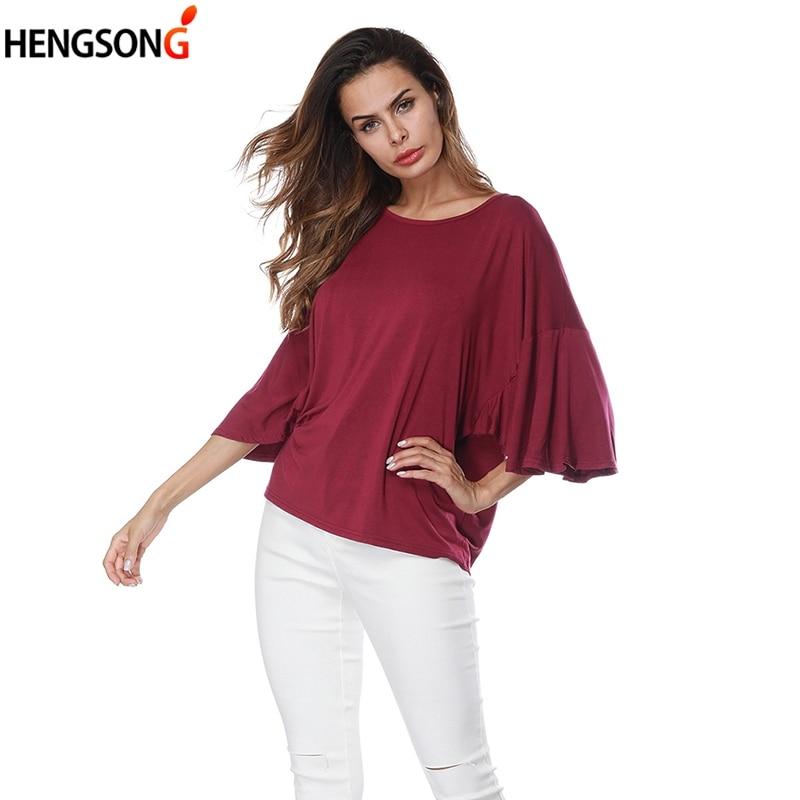 2020 verano moda mujer Casual suelta color caramelo camiseta femenina Batwing dolman manga casual suelta camiseta Tops