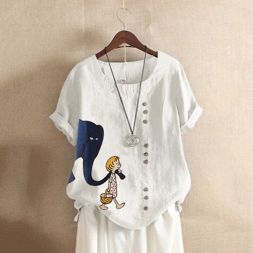 2020, Camiseta de verano con estampado de dibujos animados de talla grande para mujer, camisetas de manga corta de algodón con cuello redondo para mujer, Camiseta informal con botones para mujer, Camiseta