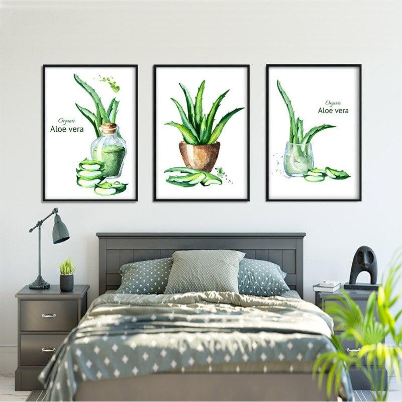 Sala de Estar Pintura a Óleo sobre Tela Pinturas da Arte Parede para Quartos sem Moldura Moderno Impressão Simples Estilo Nórdico Verde Planta Aloe hd