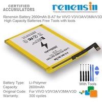renensin battery 2600mah b a7 for vivo v3v3av3mav3d high capacity batteries free tools with tools