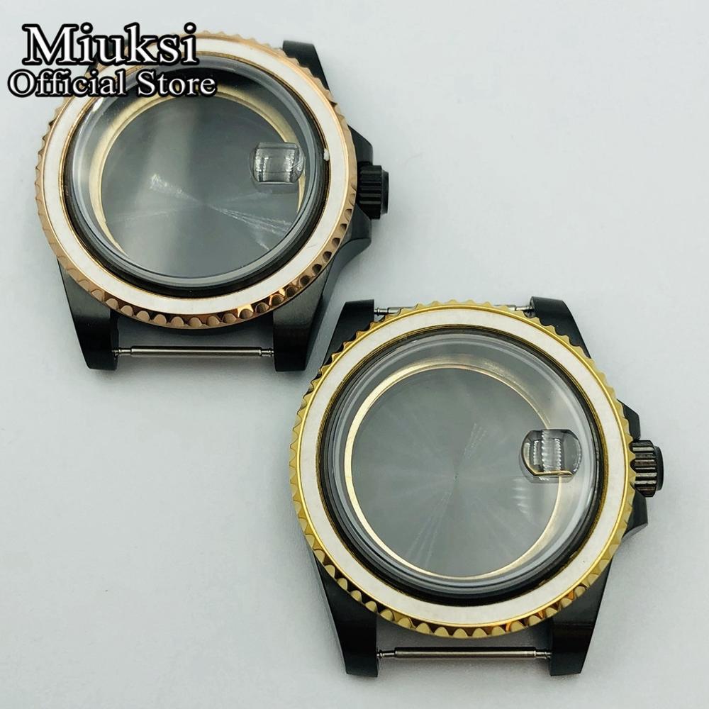 Miuksi 40mm PVD negro Acero inoxidable reloj con cristal de zafiro caso para ETA 2836 Mingzhu DG 2813 3804 Miyota 821A 8205 8215 movimiento