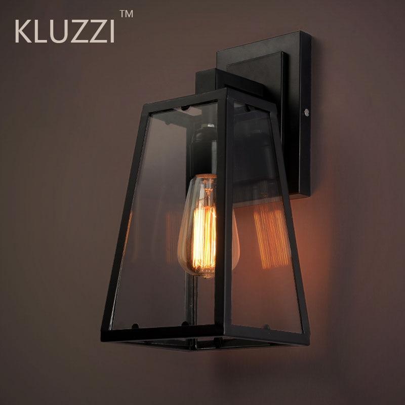 خمر مصابيح الحائط في الهواء الطلق مقاوم للماء LED IP44 الزجاج لوميناريا الشرفة ضوء لوفت الصناعية في الهواء الطلق فندق حديقة الجدار الإنارات