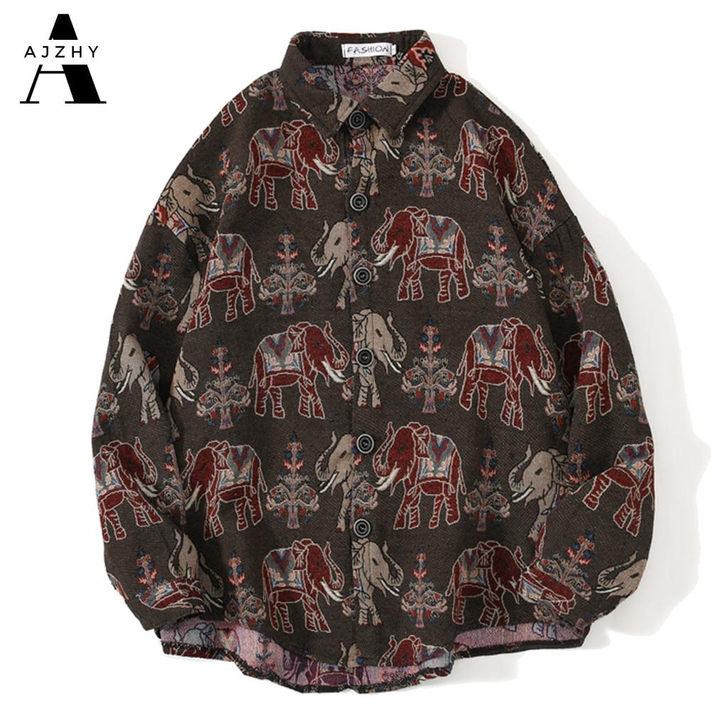AJZHY-قميص رجالي منسوج على شكل فيل ، ملابس غير رسمية بأكمام طويلة وأزرار ، بنمط Harajuku الوطني