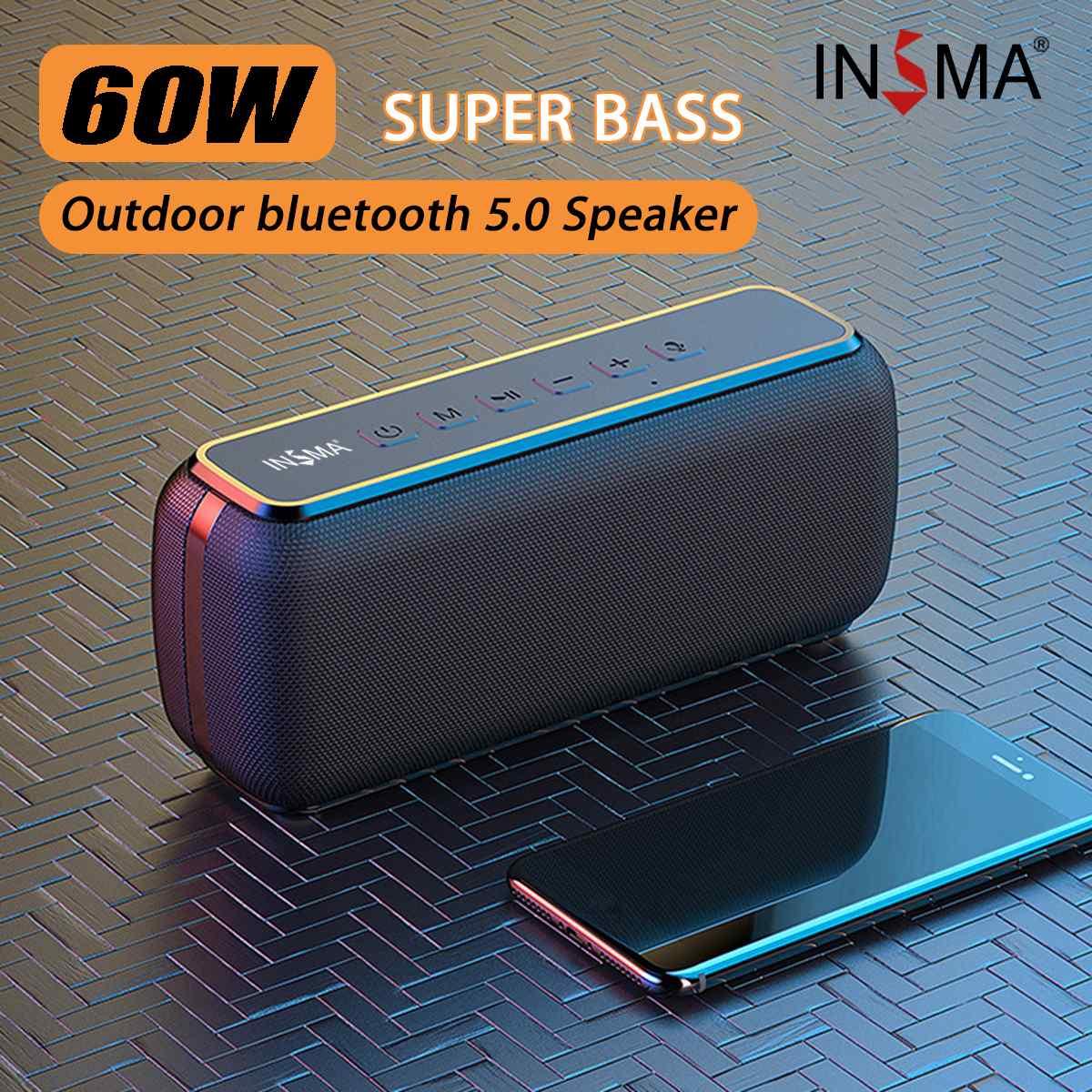 INSMA S600 60 واط سماعة لاسلكية تعمل بالبلوتوث المتكلم IPX5 مقاوم للماء TWS 15H وقت اللعب مساعد الصوت اضافية باس مضخم الصوت المتكلم
