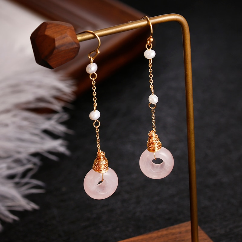 أقراط من الذهب عيار 14 قيراطًا ، مجوهرات أصلية مصنوعة يدويًا ، لآلئ المياه العذبة الطبيعية ، كريستال وردي ، للنساء ، أفضل هدية