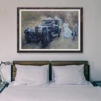Peinture classique de voiture de course retro  T159  82  affiche en soie personnalisee  decoration murale  cadeau de noel