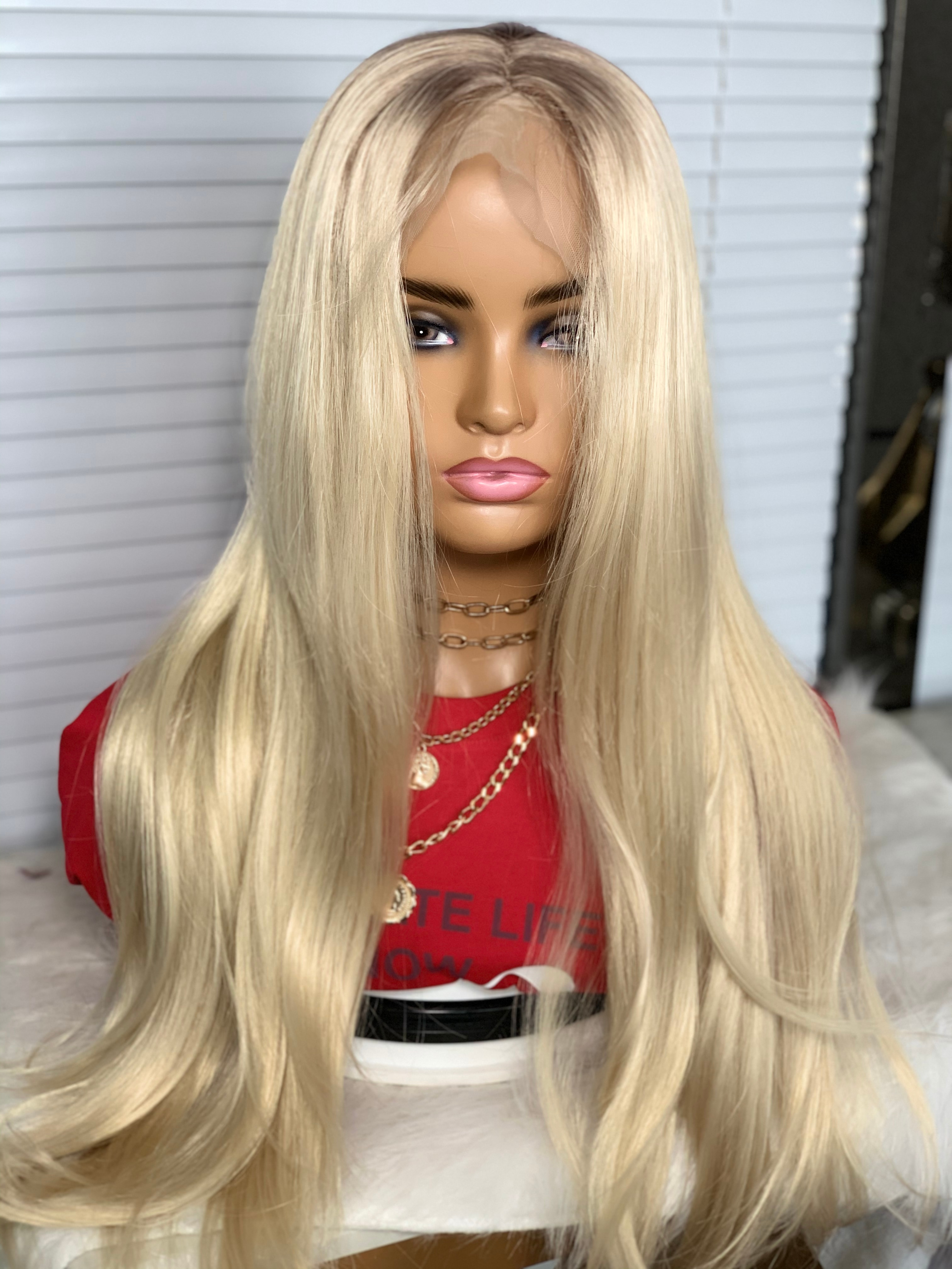 1b/613 Color Synthetic Lace Wigs For Black Women Blonde Glueless T Part Lace Silky Straight Hair Wig Pre Plucked Natural Looking