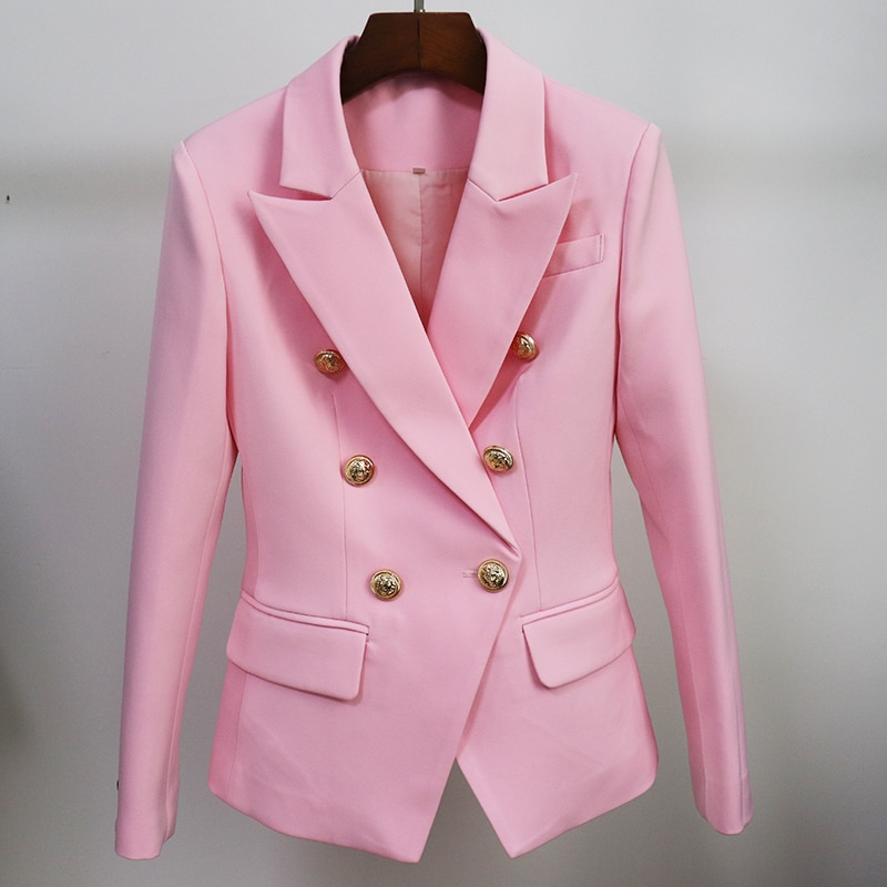 TOP QUALITY Pink Blazer Women 2021 Slim Blazer Jacket Female Double Breasted Metal Lion Buttons Wome