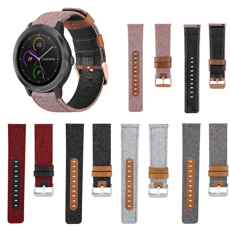 Correa de reloj de cuero genuino de tela de lona para Garmin vivo Active 3 música reloj inteligente reemplazo 20mm correa de muñeca de moda