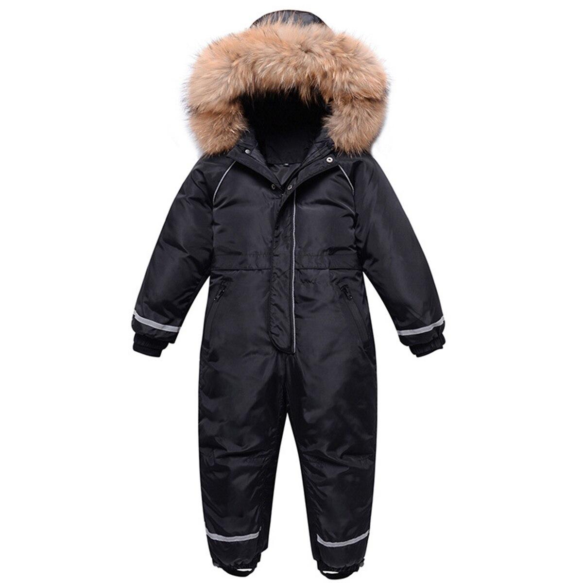 2021 Boys Winter Snowsuit Waterproof Real Fur Thick Girls Jumpsuit Kids Overalls Children Ski Suit Snow Wear enlarge