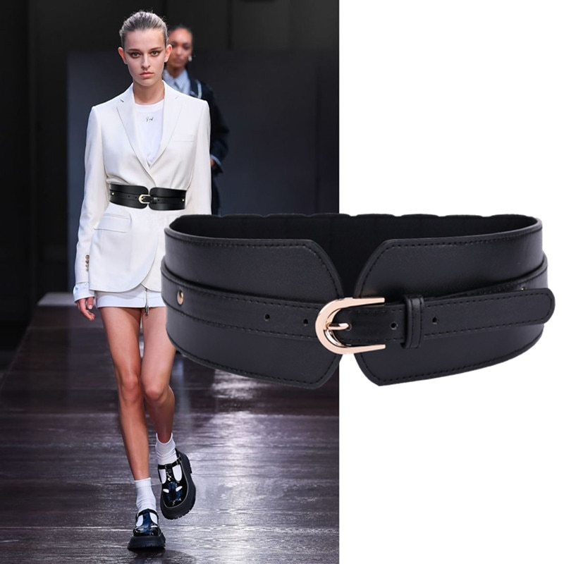 2021 Selling Luxury Ladies Wide Belt Elastic Vintage Buckle Leather Wide Fashion Wild Pin Buckle Women's Belt Waist Seal Belt funny rectangle buckle embellished furry wide waist belt
