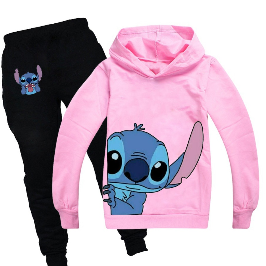 AliExpress - Stitch Cartoon Anime Casual Sports Suit Long Sleeve Sports Hoodie Pants Teenage Boys and Girls 2 Piece Suit