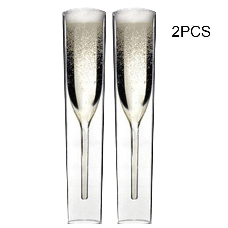 2/3/5 قطعة المزامير الفاخرة مزدوجة الطبقات زجاجات الشمبانيا المربعة مبتكرة شفافة زجاج النبيذ أبيض اللون KSI999