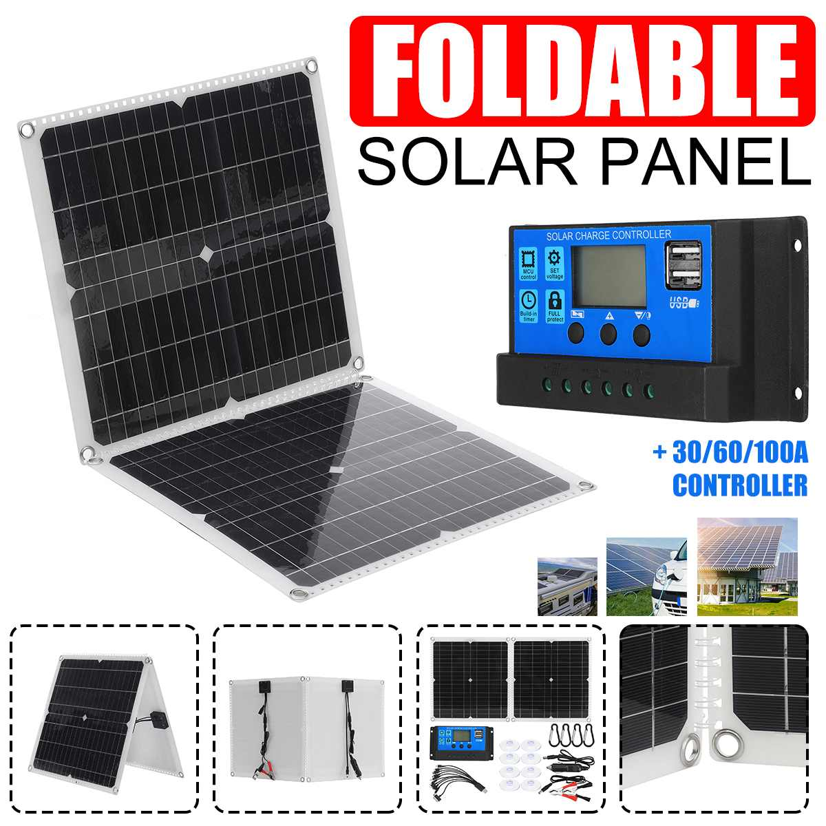 600W 300W Solar Panel Kit Complete 18V USB With 60/100A Controller Solar Cells for Car Yacht RV Boat Moblie Phone Battery Charge