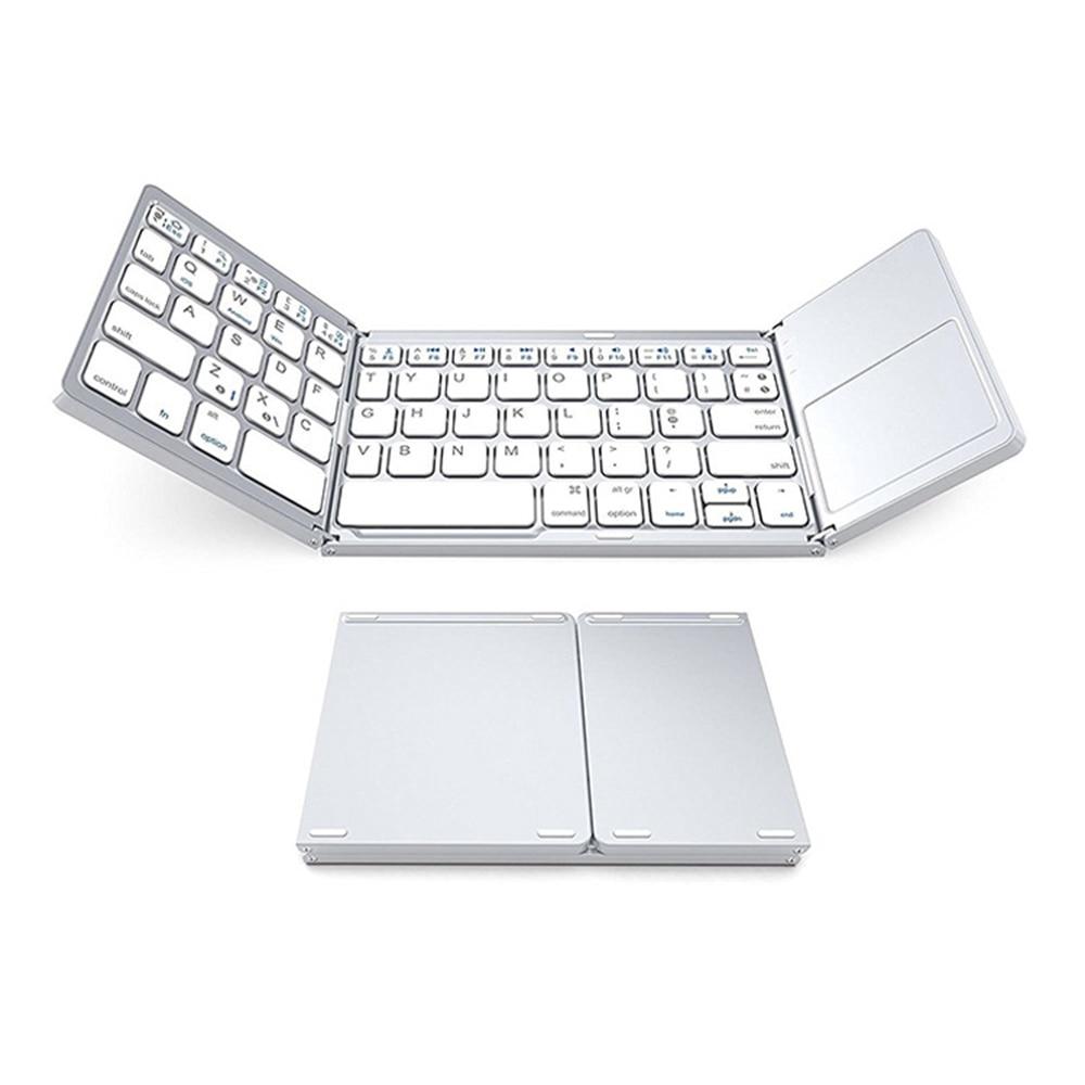Portátil plegable ultra-Delgado tri-fold Bluetooth inalámbrico Bluetooth teclado con tableta táctil para teléfono blanco nuevo