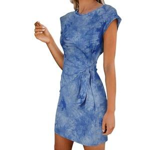 Dresses Women Casual Fashion Round Neck Tie-dye Leopard Print Short Sleeve Dress Tie Short Dress 2021 Sundress Party Dresses