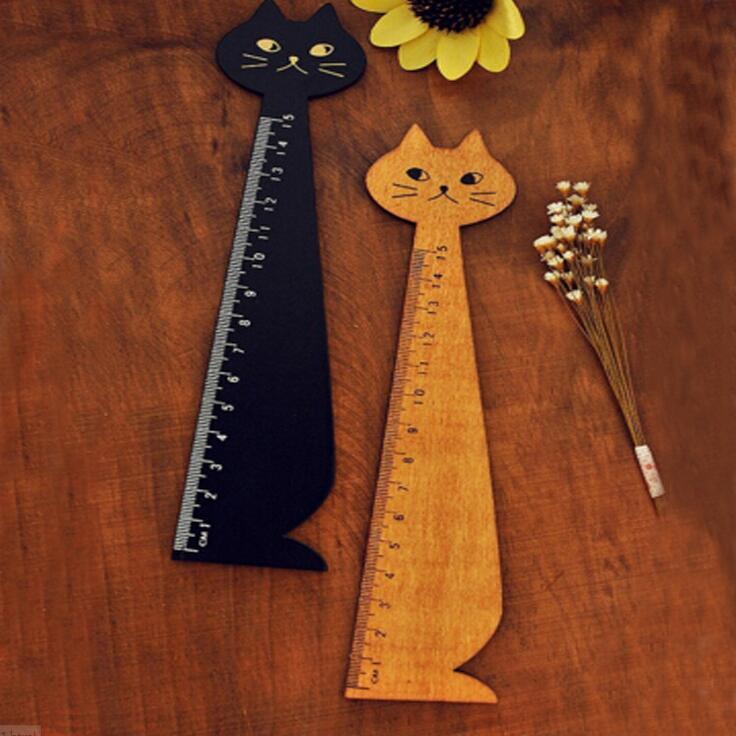 Новая Винтажная Милая счастливая кошка, деревянная искусственная линейка 15 см, деревянная прямая Линейка, инструменты для творчества для с...