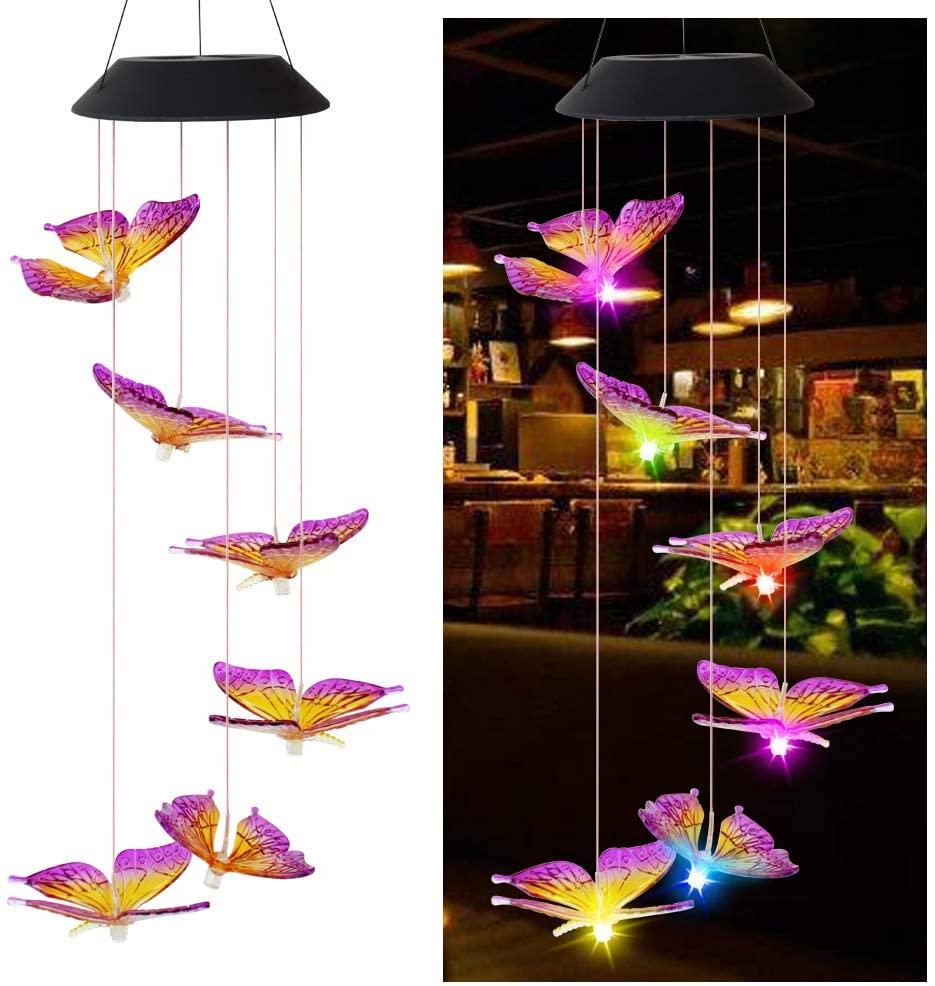 Luz Solar de mariposa, carillón de viento, luces decorativas de colores cambiantes para exteriores, jardín Solar, para pasarela, camino, patio, navidad