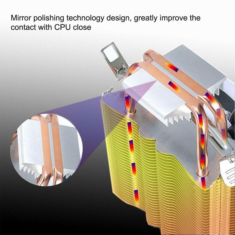 Tubo de cobre CPU radiador Ultra silencioso luz multicolor simple 3-Línea 9CM ventilador VH99