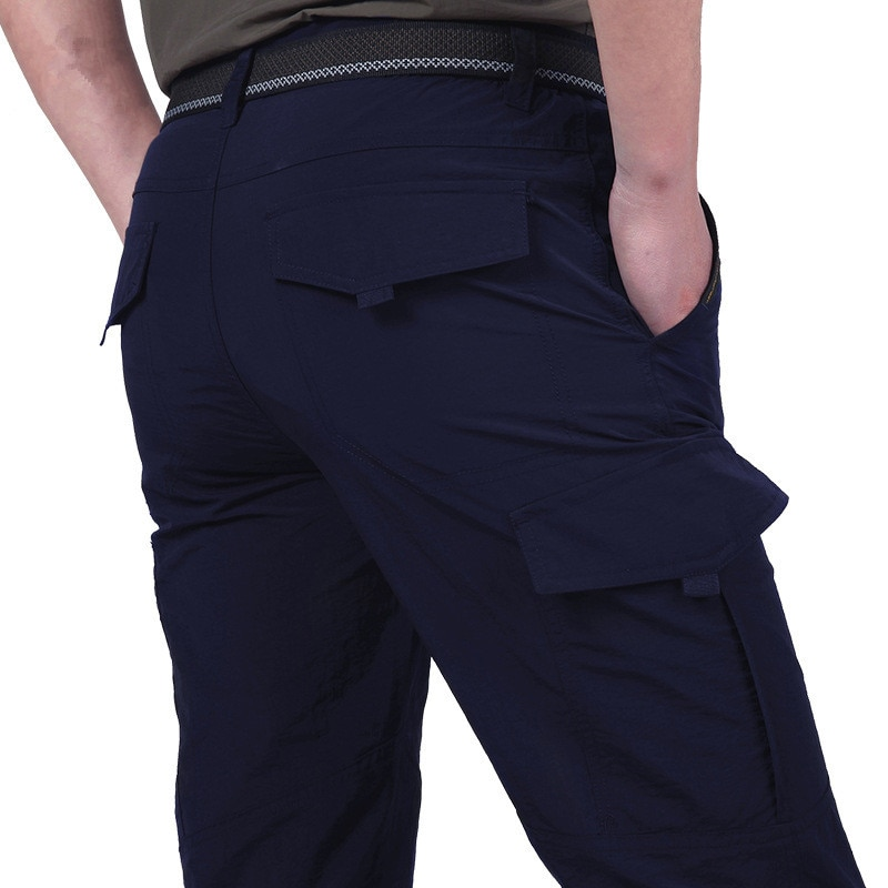Men's Summer Breathable Casual Pants Men's Straight Waist Elastic Pants Outdoor Sports Quick Drying Pants