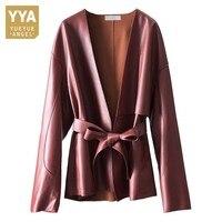 Deep Fashion Womens V Neck Belted Genuine Leather Jacket Italian Office Ladies Luxury Elegant Sashes Slim Fit Real Leather Coat