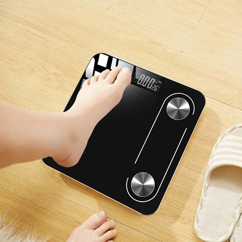 Smart Bluetooth Scale USB Charging Tempered Glass Floor Body Weight Scale LED Screen Bluetooth Weight Scale