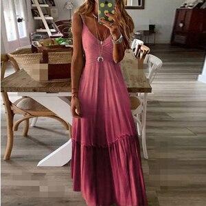 2021 Summer Gradient Color Suspenders Sexy Dress Women Clothes Casual Loose Plus Size Long Ladies Dress Party