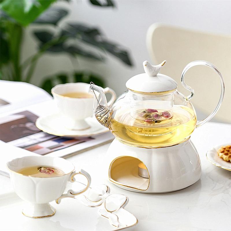 Venta caliente juego de té de cerámica, té, fruta, tetera, tetera de estilo europeo, tetera de calefacción