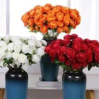new style artificial flower multi use bright colored faux silk flower simulation rose display for gifts wedding desktop decor