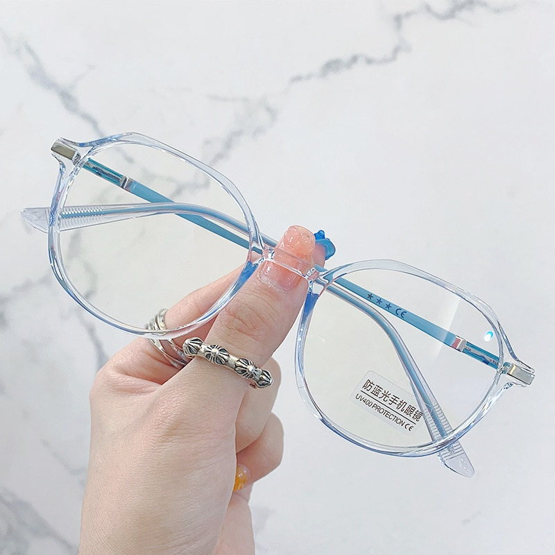 Fashion Transparent Clear Computer Anti Blue Light Glasses Frame Women Oval Eyewear Blocking Glasses Optical Spectacle Eyeglass ahora oversized anti blue light computer eyewear glasses frame for women