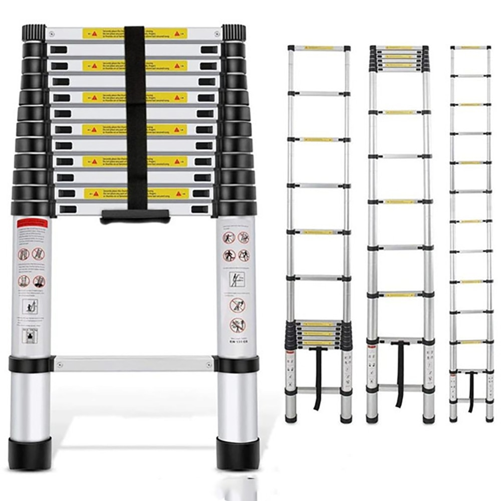 3.8m One Button Retraction Telescopic Extension Step Ladder Aluminum Alloy Folding Multi Purpose Househol12.5ft 330lbs Capacity
